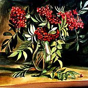 """Картины и панно ручной работы. Ярмарка Мастеров - ручная работа Картина """"Рябиновый букет"""". Handmade."""