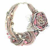 Украшения handmade. Livemaster - original item Daddy`s girl. Necklace of beads and natural stones and brooch from fabric. Handmade.