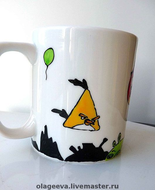 Кружки и чашки ручной работы. Ярмарка Мастеров - ручная работа. Купить Кружка Angry Birds. Handmade. Angry birds, android