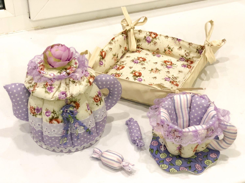 Текстильный чайный комплект, чайник, чашка, сухарница, Чайники, Ковров,  Фото №1