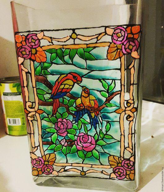 Вазы ручной работы. Ярмарка Мастеров - ручная работа. Купить Расписная ваза. Handmade. Ваза, ваза декоративная, ваза стеклянная