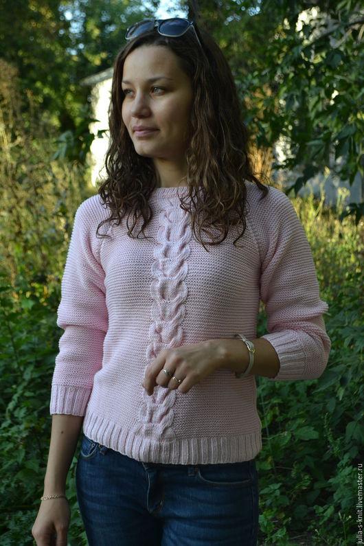 Кофты и свитера ручной работы. Ярмарка Мастеров - ручная работа. Купить Хлопковый свитер. Handmade. Бледно-розовый, свитер женский