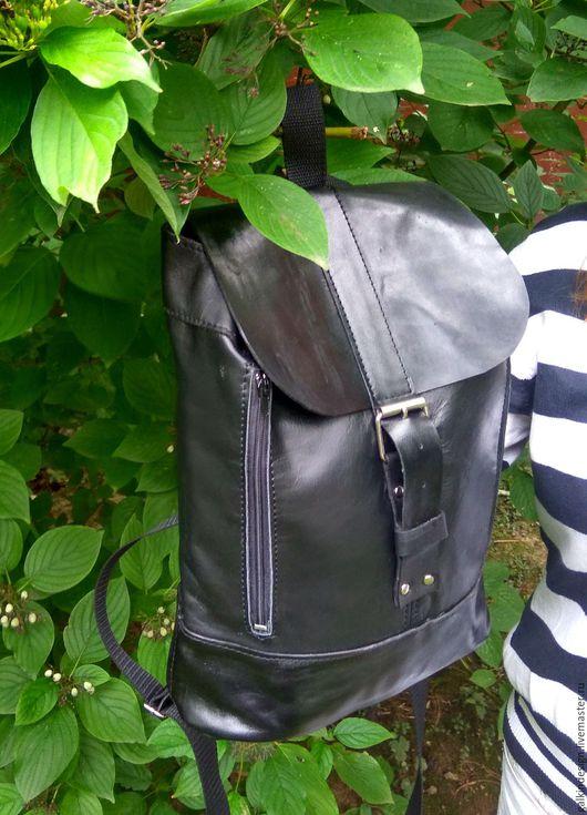 Сумки и аксессуары ручной работы. Ярмарка Мастеров - ручная работа. Купить Черный кожаный рюкзак. Handmade. Черный, рюкзак из кожи
