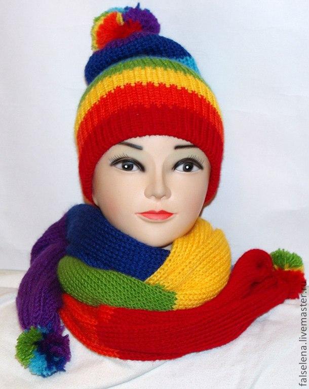 Set beanie and scarf 'Rainbow mood', Headwear Sets, Lipetsk,  Фото №1