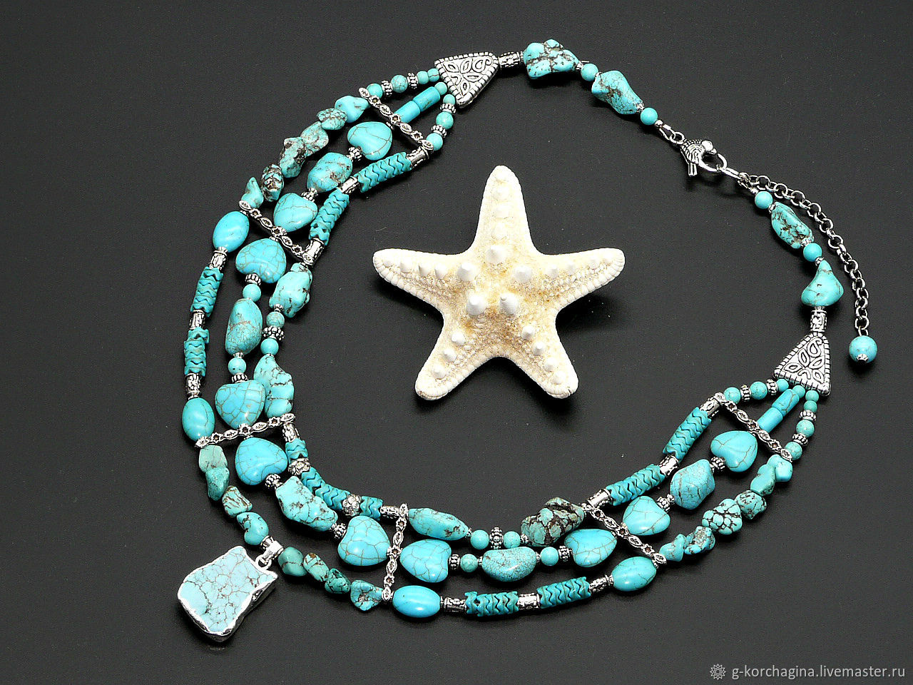 Three-row necklace the beads with a pendant, 'Turquoise delight', Necklace, Voronezh,  Фото №1