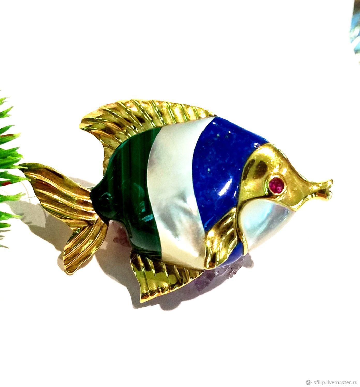 """Брошь""""Золотая рыбка""""лазурит,перламутр,малахит,золото 585, Брошь-булавка, Москва,  Фото №1"""