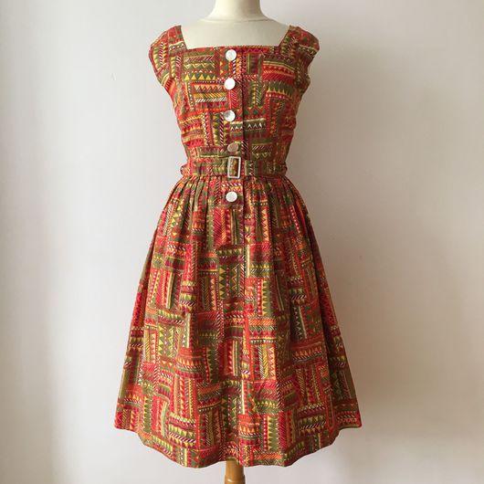 Одежда. Ярмарка Мастеров - ручная работа. Купить Винтажное платье из хлопка 1950'х годов. Handmade. Винтажное платье, яркое платье