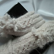 Аксессуары handmade. Livemaster - original item Gloves sleeves openwork beige grey kid mohair. Handmade.