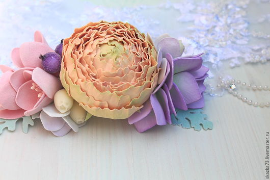 Заколки ручной работы. Ярмарка Мастеров - ручная работа. Купить Гребень с цветами из фоамирана. Handmade. Украшения ручной работы, розовый