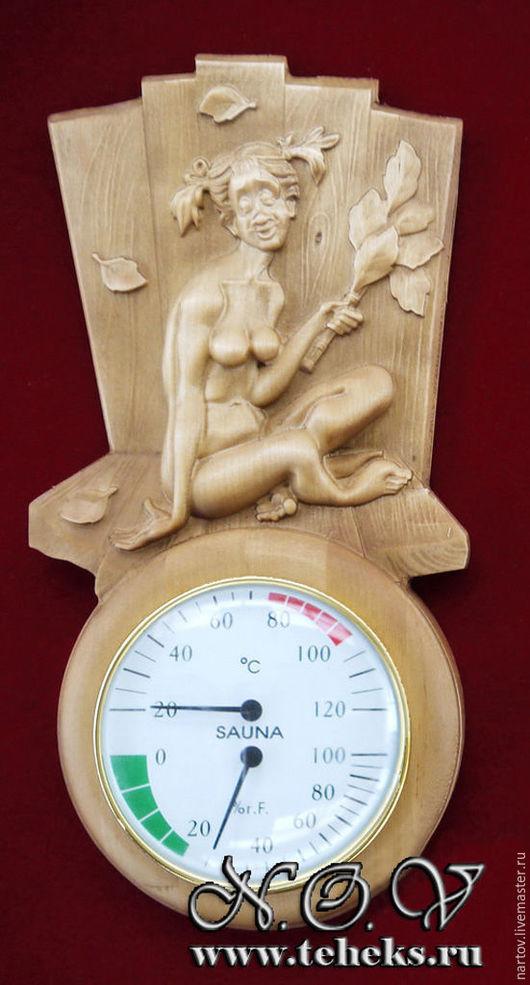 Банные принадлежности ручной работы. Ярмарка Мастеров - ручная работа. Купить Термометр+гигрометр для бани 2. Handmade. Коричневый, термометр