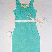 """Одежда ручной работы. Ярмарка Мастеров - ручная работа Кроп-топ+юбка """"Бирюзовая мечта"""". Handmade."""