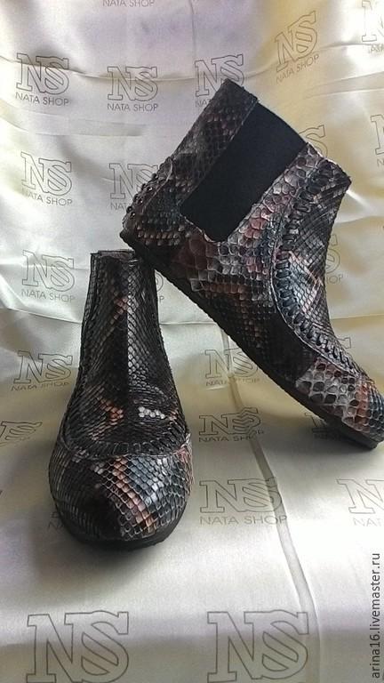 Обувь ручной работы. Ярмарка Мастеров - ручная работа. Купить Ботильоны из питона. РАСПРОДАЖА. Handmade. Разноцветный, ботильоны из питона