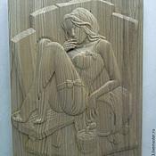 """Для дома и интерьера ручной работы. Ярмарка Мастеров - ручная работа Резное панно для бани """"Мадам"""". Handmade."""