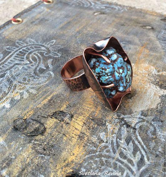 Кольца ручной работы. Ярмарка Мастеров - ручная работа. Купить На Счастье  кольцо медное с самородком бирюзы. Handmade. Голубой