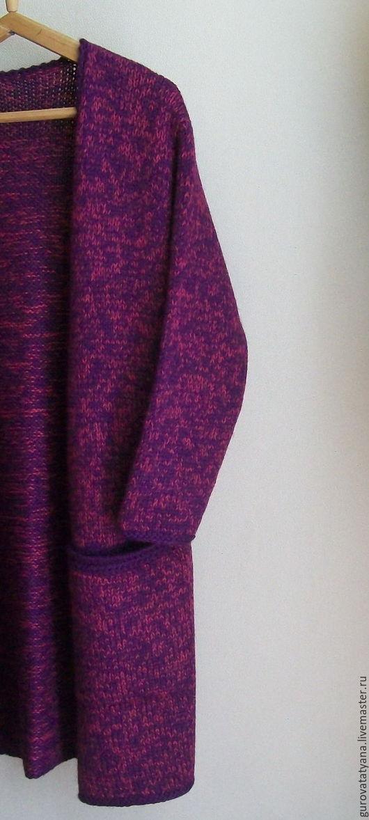 Кофты и свитера ручной работы. Ярмарка Мастеров - ручная работа. Купить Кардиган вязаный меланжевый с карманами и поясом из пряжи Перу. Handmade.