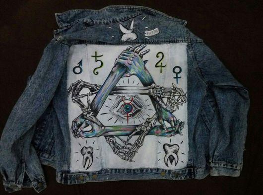 Для мужчин, ручной работы. Ярмарка Мастеров - ручная работа. Купить Мужская куртка с ручной росписью. Handmade. Синий, куртка