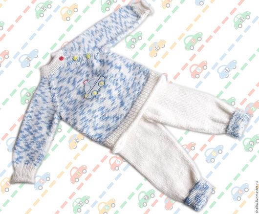 """Одежда для мальчиков, ручной работы. Ярмарка Мастеров - ручная работа. Купить Комплект """"Веселая машинка"""". Handmade. Комбинированный, малыш, штанишки"""