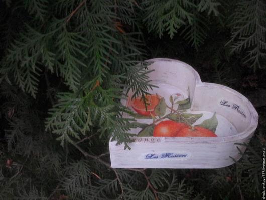 """Корзины, коробы ручной работы. Ярмарка Мастеров - ручная работа. Купить Короб-сухарница  """"Сочные Апельсинчики"""". Handmade. Белый, сухарница"""
