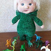 Куклы и пупсы ручной работы. Ярмарка Мастеров - ручная работа Пупс в костюме динозаврика. Handmade.