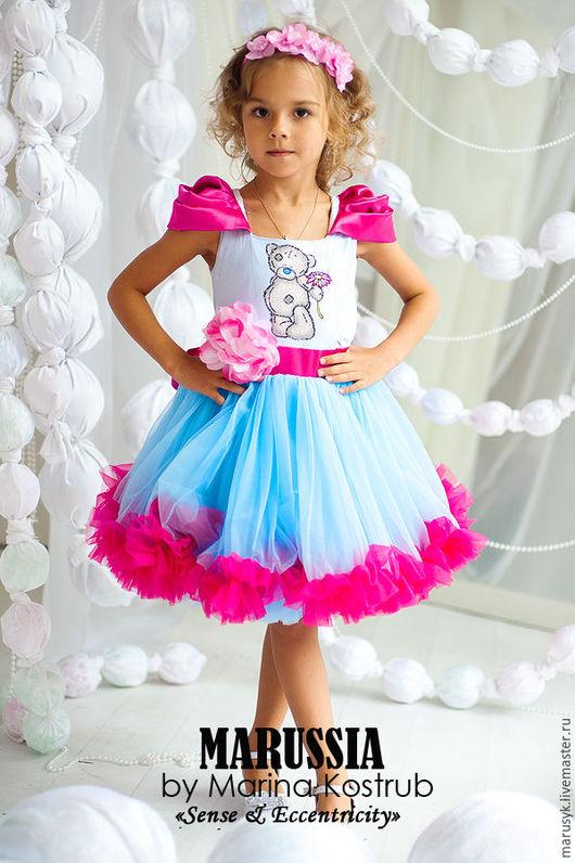 Одежда для девочек, ручной работы. Ярмарка Мастеров - ручная работа. Купить Платье РЧ-43. Handmade. Голубой, платье с принтом