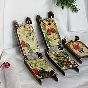Сувениры и подарки handmade. Livemaster - original item New Year`s Sleigh Christmas Tree toy souvenir. Handmade.