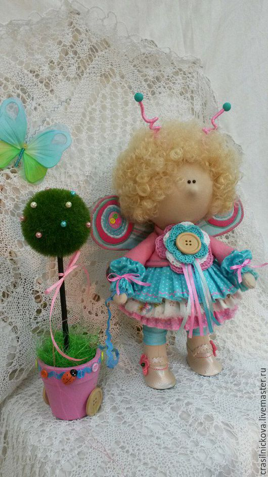 Коллекционные куклы ручной работы. Ярмарка Мастеров - ручная работа. Купить кукла - бабочка. Handmade. Комбинированный, кукла в подарок