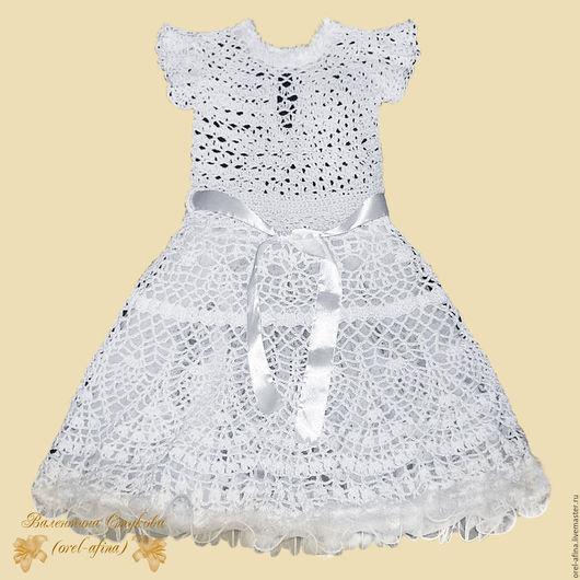 Одежда для девочек, ручной работы. Ярмарка Мастеров - ручная работа. Купить вязаное крючком детское платье Снежинка. Handmade. Белый