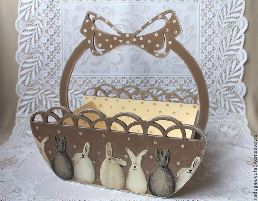"""Корзины, коробы ручной работы. Ярмарка Мастеров - ручная работа. Купить Корзинка """"Пасхальные кролики"""". Handmade. Коричневый, пасхальные кролики"""