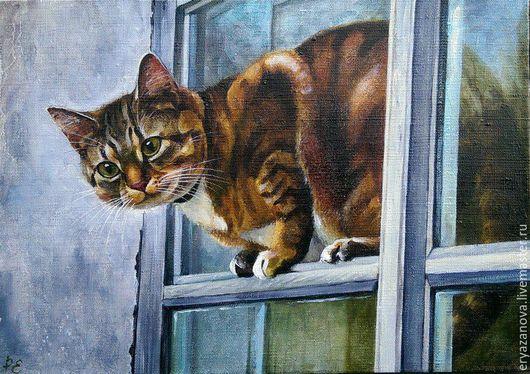 Животные ручной работы. Ярмарка Мастеров - ручная работа. Купить Картина маслом Кошка на форточке. Handmade. Купить подарок