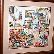 "Картины и панно handmade. Livemaster - original item Picture, landscape,embroidered picture of the ""Yard"". Handmade."
