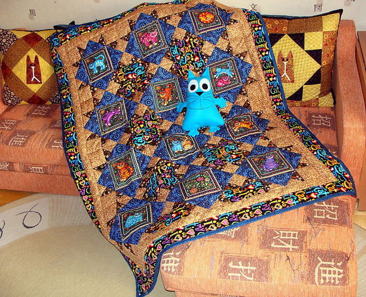 """Текстиль, ковры ручной работы. Ярмарка Мастеров - ручная работа. Купить Лоскутное одеяло """"Коты яркие"""". Handmade. Одеяло пэчворк"""