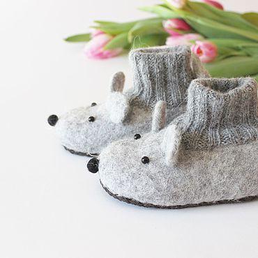 Footwear handmade. Livemaster - original item Copy of felted slipper  socks for children mouse pink. Handmade.