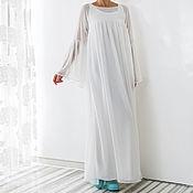 Одежда ручной работы. Ярмарка Мастеров - ручная работа Белое шифоновое вечернее длинное макси платье, кафтан большие размеры. Handmade.