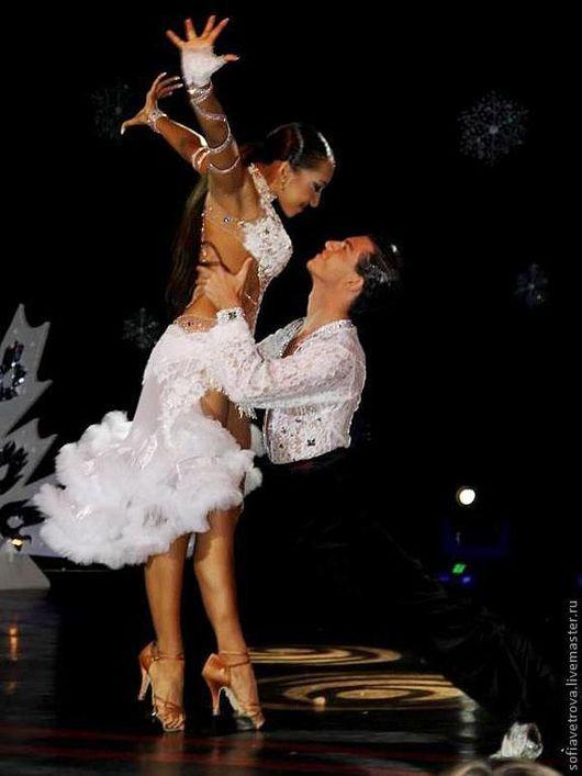 Танцевальные костюмы ручной работы. Ярмарка Мастеров - ручная работа. Купить белое платье для бальных танцев. Handmade. Белый, однотонный