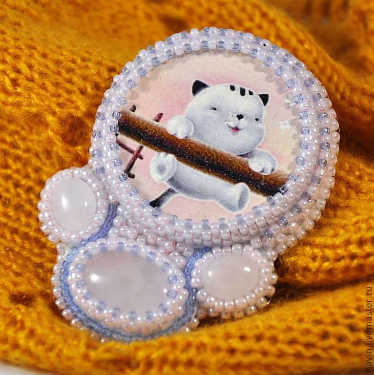 A beaded brooch 'Cat', Brooches, Odintsovo,  Фото №1