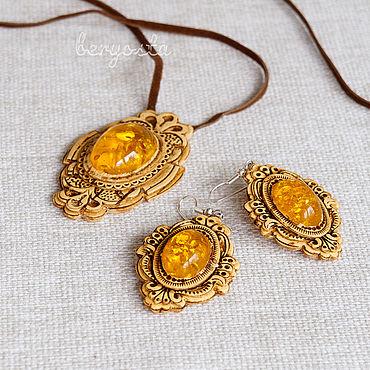 Decorations handmade. Livemaster - original item Set of birch bark jewelry with amber. Pendant and earrings. Handmade.