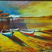 Картины и панно ручной работы. Ярмарка Мастеров - ручная работа Оранжевая картина маслом пейзаж живопись с лодками на закате. Handmade.