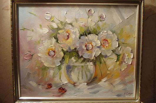 Картины цветов ручной работы. Ярмарка Мастеров - ручная работа. Купить пионы. Handmade. Розовый, картина, картина в подарок