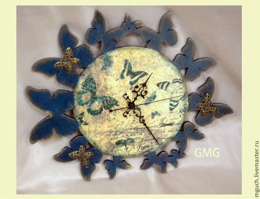 """Часы для дома ручной работы. Ярмарка Мастеров - ручная работа. Купить Часы """" В плену у бабочек"""". Handmade. Синий"""