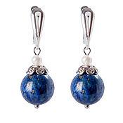 Украшения handmade. Livemaster - original item Earrings with lapis lazuli and pearls, silver earrings with stones, blue. Handmade.