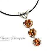 Украшения handmade. Livemaster - original item Pendant with amber Buds, 925 sterling silver bronze amber Baltic. Handmade.