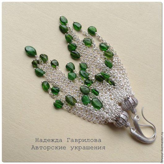 """Серьги ручной работы. Ярмарка Мастеров - ручная работа. Купить Серьги """"Lush Meadow"""". Handmade. Серебряные серьги, зеленые серьги"""