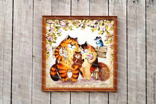 """Животные ручной работы. Ярмарка Мастеров - ручная работа. Купить Картина """"Счастливая семья"""". Handmade. Синий, картина в гостиную"""