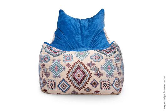 Бескаркасное дизайнерское кресло-пуф Blue Kilim от RANGA Performance