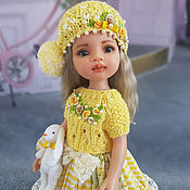 Куклы и игрушки handmade. Livemaster - original item Clothes for Paola Reina dolls. Summer yellow set with Bunny. Handmade.