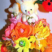 Цветы и флористика ручной работы. Ярмарка Мастеров - ручная работа Букет с игрушкой. Handmade.