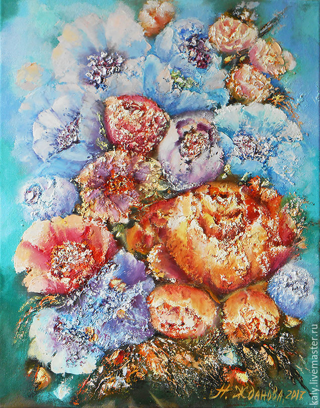 Colorful Summer a bouquet of flowers, painting flowers painting flower, Pictures, St. Petersburg,  Фото №1