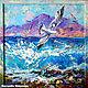 """Пейзаж ручной работы. Ярмарка Мастеров - ручная работа. Купить """"В Танце с Волнами"""" - картина маслом с морем и чайками. Handmade."""