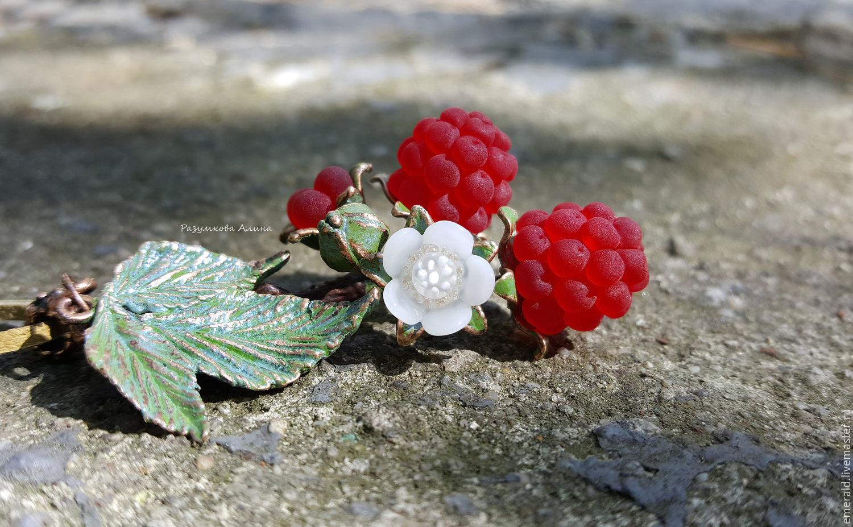 Кулон Сладкая малина с ягодами lampwork, Подвеска, Екатеринбург,  Фото №1