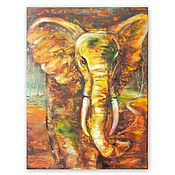 Картины и панно handmade. Livemaster - original item Elephant oil painting